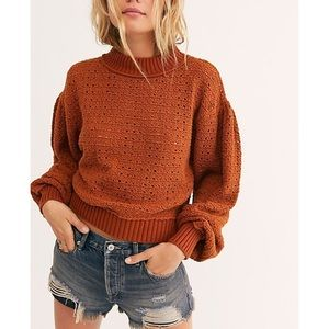 Free People Paper Doll Pullover Amber Glow XS